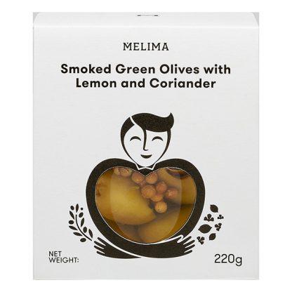 Καπνιστές πράσινες ελιές με λεμόνι και κόλιαντρο 220 γρ