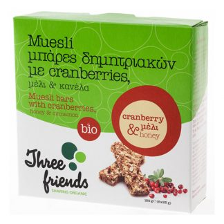 Μπάρες δημητριακών βιολογικές με cranberries, μέλι & κανέλα Three Friends 150 γρ