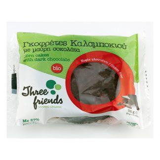 Γκοφρέτες καλαμποκιού βιολογικές με μαύρη σοκολάτα Three Friends 32 γρ