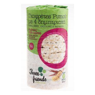 Γκοφρέτες ρυζιού βιολογικές με 4 δημητριακά Three Friends 100 γρ