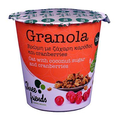 Γκρανόλα cup βιολογική με ζάχαρη καρύδας και cranberries Three Friends 65 γρ