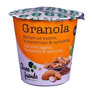 Γκρανόλα cup βιολογική με αγαύη, λιναρόσπορο και αμύγδαλα Three Friends 65 γρ