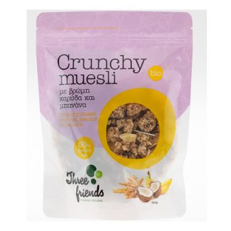 Crunchy Muesli βιολογικό με καρύδα και μπανάνα Three Friends 350 γρ