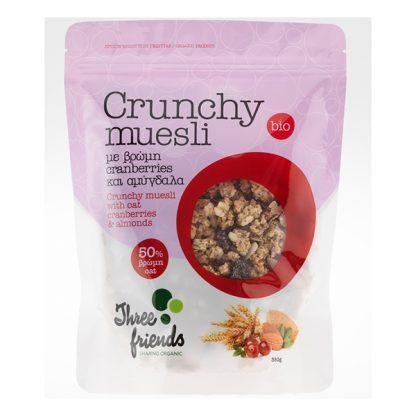 Crunchy Muesli βιολογικό με cranberries και αμύγδαλα Three Friends 350 γρ
