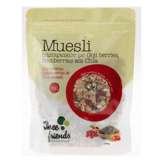 Muesli βιολογικό με goji berries, cranberries & chia Three Friends 375 γρ