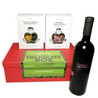 Καλάθι δώρου pasta and wine