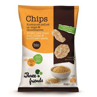 Βιολογικά chips ρυζιού με κεχρί και ηλιόσπορο 60 γρ