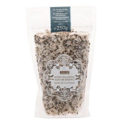 Θαλασσινό αλάτι με βασιλικό Nissos 250 γρ